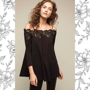 ANTHROPOLOGIE BLACK LACELINE TOP